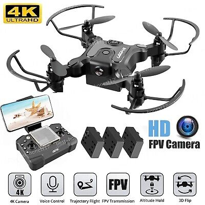 AU43.99 • Buy Mini Drone With 4K HD Wide Angle Camera WiFi FPV Selfie RC Quadcopter +3 Battery