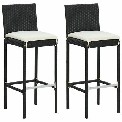 AU196.95 • Buy 2 Pcs Garden Bar Chairs With Cushion Poly Rattan Patio Stools Outdoor Furniture