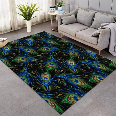 £119.99 • Buy Bird Peacock Feather Blue Large Rectangle Rug Carpet Mat Living Room Bedroom