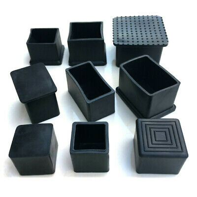 £3.89 • Buy 4Pcs Black Rubber Square Floor Anti Scratch Protect Cover Chair Feet End Caps UK