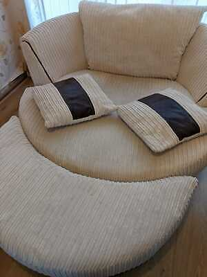 £300 • Buy Large Brown Swivel Chair And Half Moon Foot Stool. Nearly New.