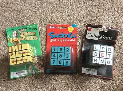 £7.95 • Buy Sudoku Cube - Snake Cube - Cube Words   3 X Rubiks Style Puzzles Games NEW