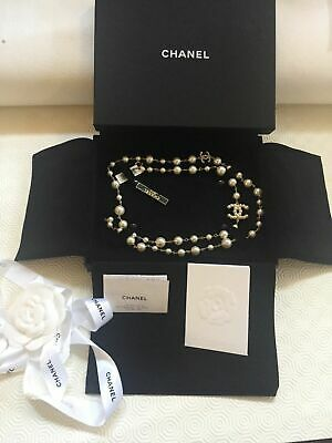 £1769.94 • Buy New In Box Authentic Chanel Classic Cc Logo Pearl Necklace 42  Gold Tone Belt