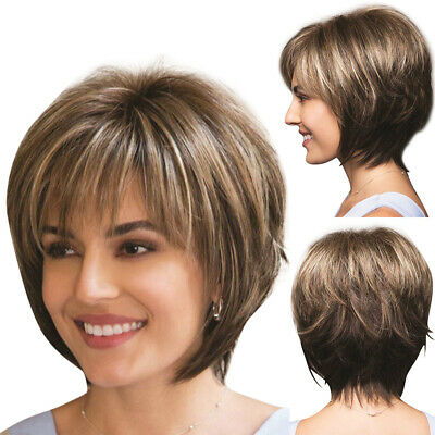 £13.09 • Buy Women Natural Real Wig Ladies Short Straight Bob Pixie With Bangs Full Hair Wigs
