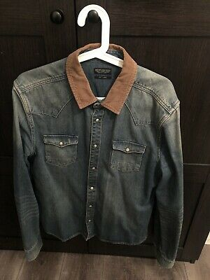 £15 • Buy Allsaints Denim Button Up Shirt In Size Large Slim Fitted. Good Condition