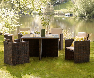 £495 • Buy RATTAN GARDEN FURNITURE CUBE SET 4x CHAIRS, 4x STOOLS & TABLE OUTDOOR PATIO