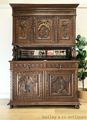 AU2475 • Buy Antique French Rare Buffet Sideboard Carved Oak Brittany - SF054