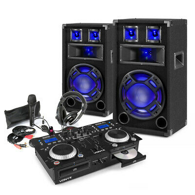 £489 • Buy Home DJ Setup 10  PA Speakers, CD Mixer With Microphone And Headphones Kit