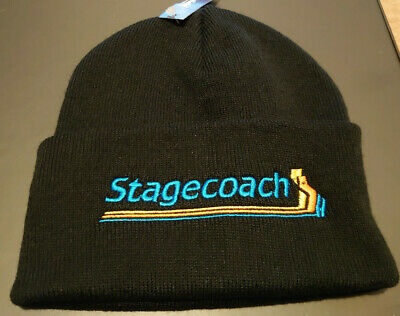 £11.99 • Buy Stagecoach Stripes Embroidered Beanie Hat Cuffed New Black Bus