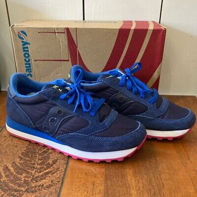 £45 • Buy SAUCONY JAZZ Ladies Blue Trainers SIZE 7 UK VGC With Box And Spare Laces