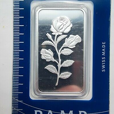 £60 • Buy Beautiful Rare PAMP Suisse Rose 1 OZ 999 Silver Silver Bullion In Blister C06852