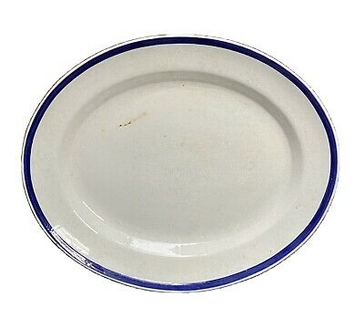 £15 • Buy Antique Bovey Pottery Large Serving Plate Platter Victorian Blue & White