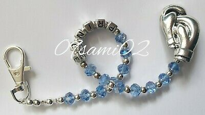 £7.50 • Buy Personalised Bling Dummy Clip Blue Crystal ❤romany❤boxing Gloves