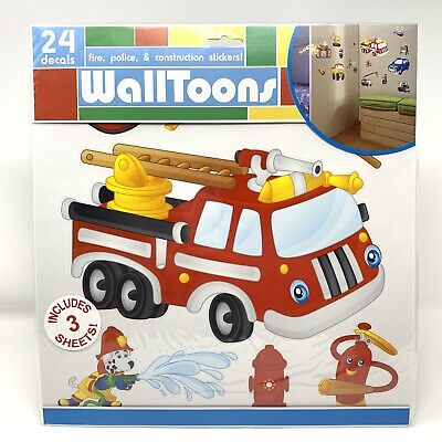 £8.41 • Buy WallToons Fire Engine Truck Police Construction Wall Decal Peel N Stick Stickers