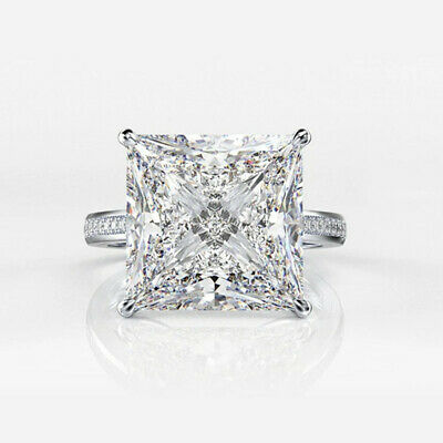£2.73 • Buy 925 Silver Rings Pretty Princess Cut Cubic Zirconia Engagement Jewelry Size 6-10