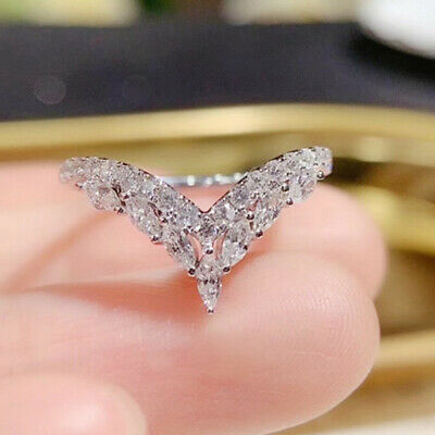 £2.84 • Buy 925 Silver Rings Charm Cubic Zirconia Women Wedding Engagement Jewelry Size 6-10