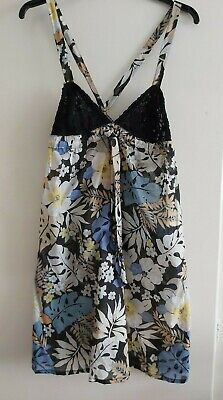 £9 • Buy Zara TRF Cotton And Lace Blue Mix Sun Dress Large NWT