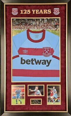 £395 • Buy Declan Rice Signed And Framed West Ham 125 Away Years Shirt
