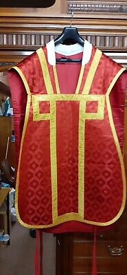 £150 • Buy Chasuble Vestment Mass Red Damask Silk
