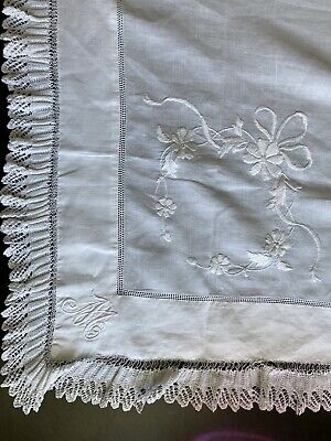 """£25 • Buy Antique Tablecloth Embroidered Lace Linen Cotton 32"""" X 39"""" French Filigree"""