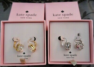 $ CDN48.66 • Buy Kate Spade ~Gold / Silver Square Clear Crystal Leverback Drop Earrings~LOT OF 2