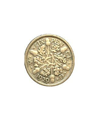 £6.95 • Buy 1929  Silver Sixpence 6d  George V  Excellent Condition