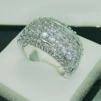 £3.21 • Buy Pretty Cubic Zirconia 925 Silver Rings Women Wedding Engagement Rings Size 6-10