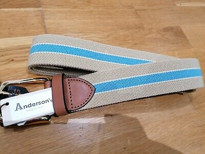£35 • Buy Anderson's Solid Brass Buckle Blue And Tan Belt - 38inch XXL - £RRP95