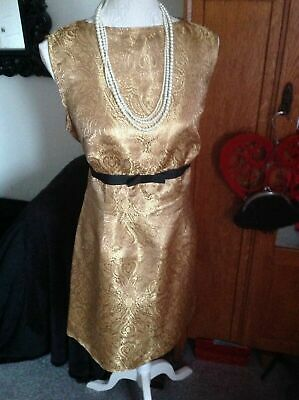 £19.99 • Buy Beautiful Party/Cocktail Dress Size 16 Jackie O' Vintage Gold Brocade Design Fab