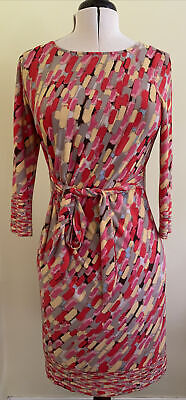 £18 • Buy Jessica Howard Dress Size 14 Knee Length Pink Yellow Red Beige Pattern