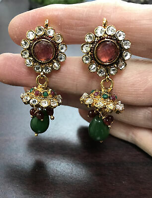 £10.62 • Buy Gold Tone Chandelier Post Earrings With Green And Red Glass Dangle