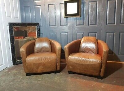 £799 • Buy Superb Timothy Oulton Aviator Halo  Leather Tub Chairs Pair