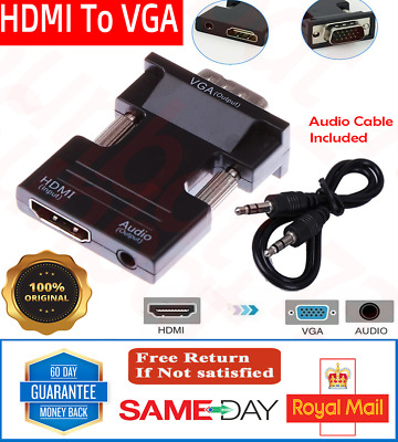 £3.60 • Buy 1080p HDMI Female To VGA Male Adapter Converter With Audio Output Cable Lead UK