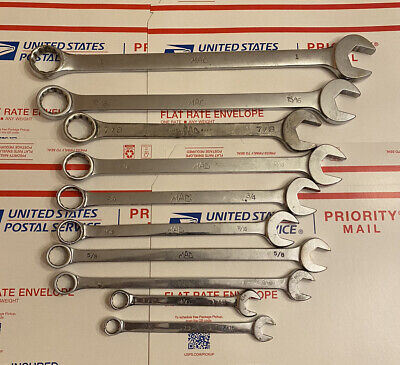 """$70 • Buy Mac 10 Piece SAE 12 Point Wrench Set Sizes 1""""-7/16"""" 9 Of 10 Are Polished Chrome"""