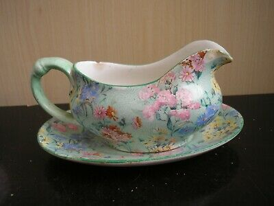 £5.50 • Buy Small Size Vintage Shelley Melody Art Deco Sauce Boat(chipped) & Oval Plate.