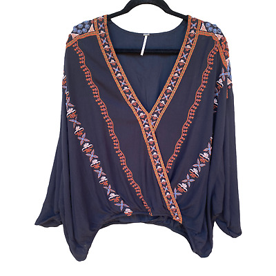 £24.74 • Buy FREE PEOPLE Beaded & Embroidered Boho Peasant Festival Top Black Multi Size L