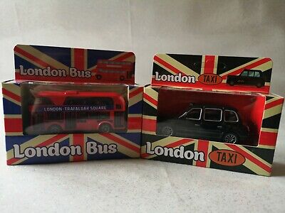 £9.99 • Buy LONDON NEW Double Decker Bus & Taxi Set DIECAST MODELS TOY WITH PULL BACK