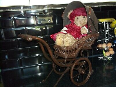 £25 • Buy Antique Dolls Pram Vintage Baby Carriage Wicker Cane 19th Century Hand Painted