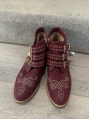 £9.99 • Buy BNWOB Maroon Studded Boots In The Style Of Chloe EU40