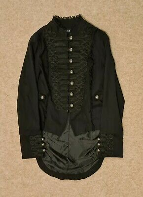 £27.95 • Buy H&R London Black Gothic Tail Coat, Military Style Jacket, Steampunk, Size 10,