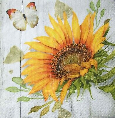 £0.99 • Buy 4  French Sunflowers  Paper Napkins 2 Sizes Ideal For Decoupage - New