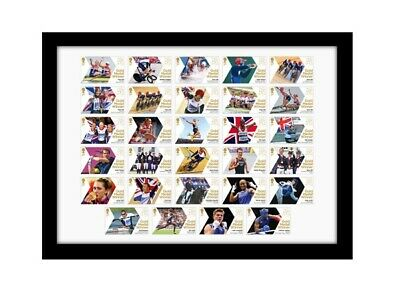 £99.99 • Buy London 2012 Olympic Games Team Gb 29 Royal Mail Gold Medal Winners Stamps Framed