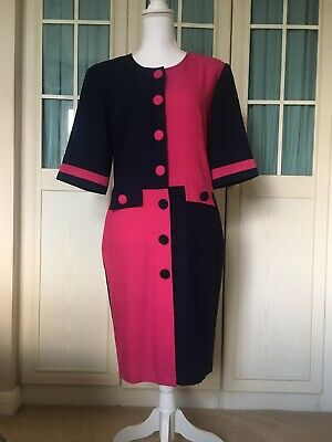 £12.99 • Buy •CLASSIC WOMAN•Vintage 80's Colour Block Shift Dress Size 14 In Cerise And Navy