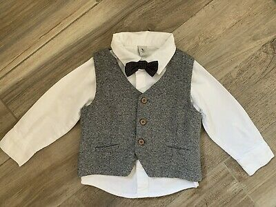 £2 • Buy Baby Boys Shirt And Waistcoat With Bow Tie Age 12-18 Months