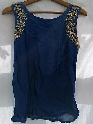 £1.50 • Buy Topshop Bright Blue Size 8 Sleeveless Top Silver Bead Detail Keyhole Back