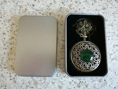 £5 • Buy Pocket Watch With Green Stone. Ideal Father's Day Gift In Presentation Tin