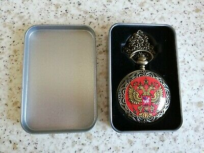 £5 • Buy Red Russian Style Pocket Watch In Presentation Tin Ideal Father's Day Gift