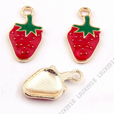 £0.44 • Buy 10pc Strawberry Fruit Pendant Charm Beads DIY Jewellery Making Accessories N977