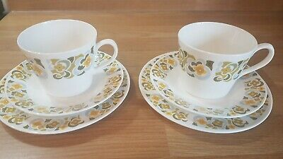 £1.99 • Buy Pair Of Floral Fine Bone China Tea Cup Trio Cup Saucer Side Plate (x 2) 2 Sets