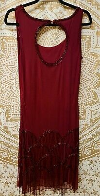 £8 • Buy *Roman* Wine Red Long Beaded Evening Gown - 1920s Style - UK 14 VGC